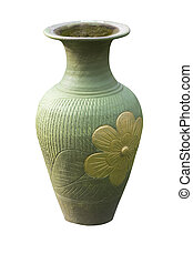 Ceramic vase on a white background.