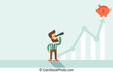 Business growth - A man standing using telescope to see the...