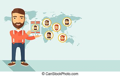 Social network - A hipster Caucasian man standing holding...