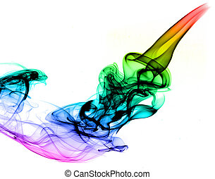 Abstract Colored Fume on the white