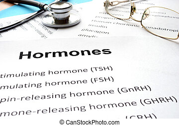 Papers with hormones list and word hormones Medical concept...