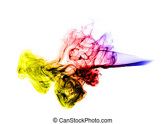 Abstract colored Smoke Shape over white