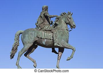 Famous statue of Louis XVI, Lyon, France.