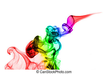 Abstract colorful Fume curves on the white background