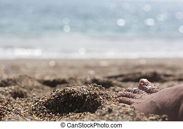 woman relaxing near beach with barefoot on the sand with...