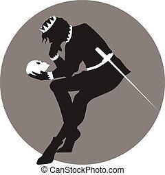 Hamlet - Black and white illustration of Hamlet with a skull...