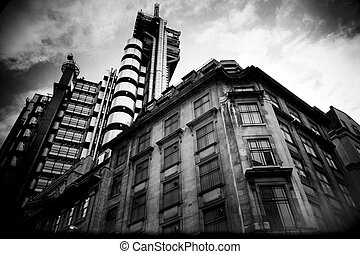 London old and new - Looking up at older city block and the...