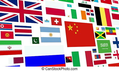World Flag Loop - Loopable animation of a large compilation...
