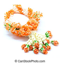 garland flower - Orange garland flower in Thai style,...