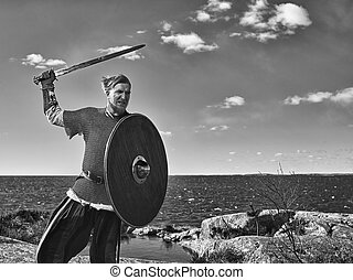 Viking warrior - Medieval viking warrior wearing chainmail,...