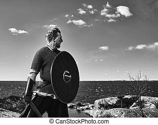 Viking warrior - Medieval viking warrior wearing chainmail,...