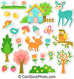forest stickers design - stickers designs with cute animals...