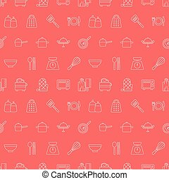 Kitchen line icon pattern set