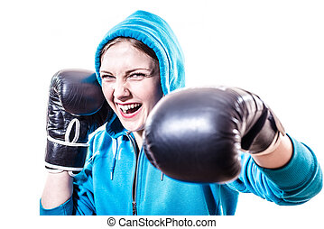 boxing pretty girl on white copyspace background