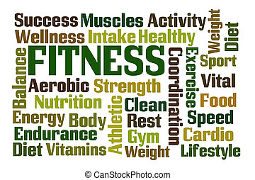 Fitness word cloud on white background