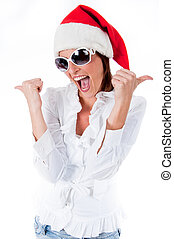 Joyful young santa women embracing wearing sunglass isolated...