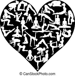 Yoga pilates heart - A heart shape made from silhouettes in...