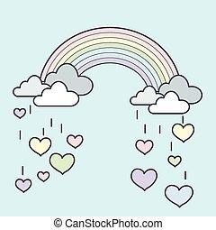 Rainbow Rain Heart - Illustration of pastel rainbow with...