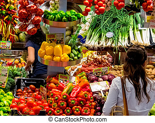 fruta, y, vegetal, Mercado,
