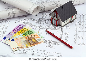 house plan with euro banknotes