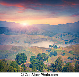 Colorful summer sunrise in the foggy mountain village