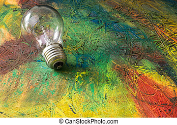 Painting of abstract with light bulb. Mix oil paints on...