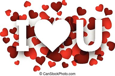 Paper love sign. - White I love u sign over red hearts....