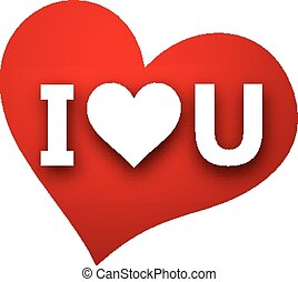 Paper love sign. - White I love u sign over red heart....