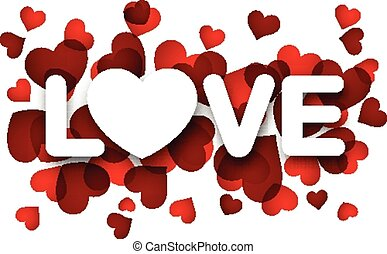Paper love sign. - White love sign over red hearts. Vector...