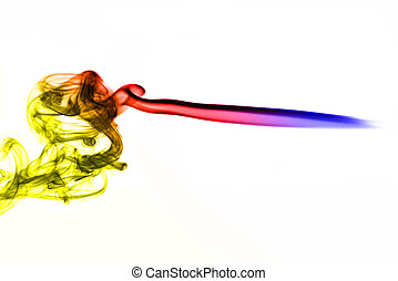 Beautiful colored smoke abstract shape On the white