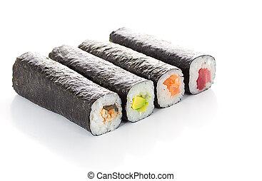 Unsliced sushi rolls isolated on white background