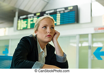 businesswoman waiting at the airport - businesswoman waiting...