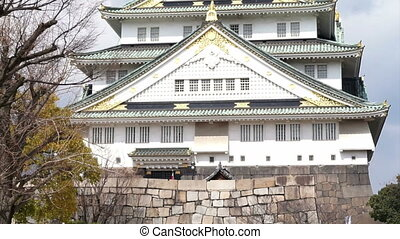 Osaka Castle landmark of Japan - View of Osaka Castle...