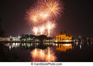 Fireworks Chanthaburi. - Fireworks on the closing date of...