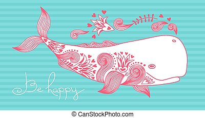 Card Be Happy with Whale and Patterns. Vector Illustration.