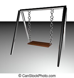 Swing set with wooden seat, 3d render
