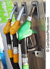 Fuel pump with petrol and diesel pumps, vertical image