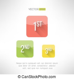 First second and third place icons made in modern simple...