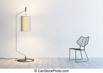modern interior of the room with floor lamp and chair