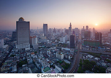 beautiful city scape urban scene  of bangkok capital of thailand