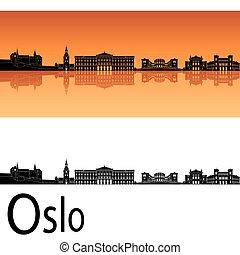 Oslo skyline in orange background in editable vector file
