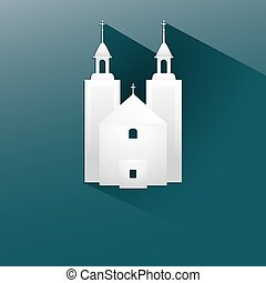 Symbol white church with a flat long shadow - symbol white...