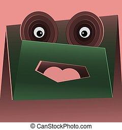 vector cartoon funny green monster