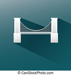 bridge in blue background, flat and shadow design. Vector...