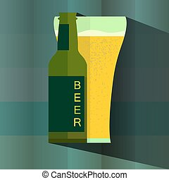 Bottle and glass of beer icon in vintage style poster, vector illustration