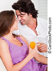 Romantic couple having drink
