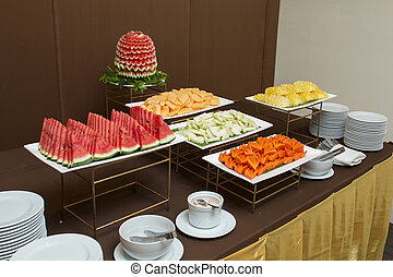 Fruit carvings on the buffet table