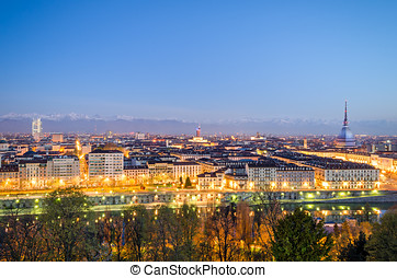 Turin Torino, panorama at blue hour