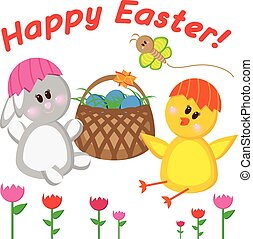 Greeting card happy Easter. Vector illustration