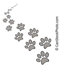 Cute dog or cat paw print background, isolated on white...